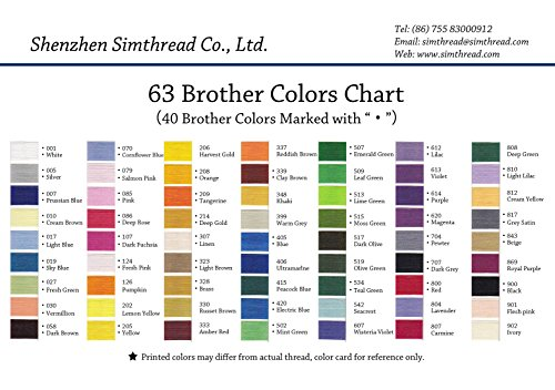 Simthread 63 Spool Brother Colors Polyester 120d2 40 Weight