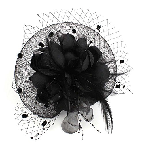 Auranso Netting Mesh Headband Big Flowers Fascinator Hat Black3 One Size ()