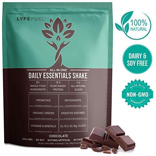 Lyfe Fuel Meal Replacement Shakes - Nutrition Simplified - Vegan Keto & Low Carb for Weight Loss - 18g Plant Protein, Premium Superfoods, Organic Greens & Essential Vitamins (Chocolate - 24 Meals)