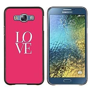 KLONGSHOP // Cubierta de piel con cierre a presión Shell trasero duro de goma Protección Caso - amor texto rosados ??valentines besan - Samsung Galaxy E7 E700 //