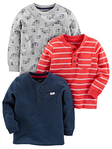 r's Baby Boys' Toddler 3-Pack Long Sleeve Shirt, Gray, Navy, Red Stripe, 4T ()