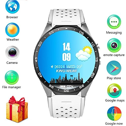 BISOZER KW88 Round Bluetooth Smart Watch Unlocked Android 5.1 Wrist Phone Nano SIM 3G WiFi 2.0MP Camera Touchscreen Smartwatch Call Heart Rate Monitor Pedometer for Android Samsung iOS iPhone ()