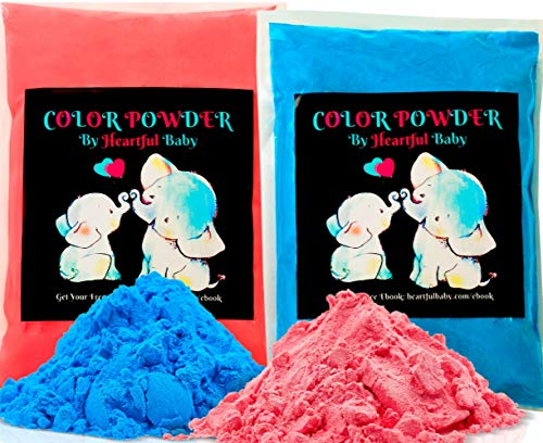 Baby Gender Reveal Party Supplies - 2lb Pink and 2 lb Blue Color Powder Bag - FREE BONUS EBOOK - Girl or Boy Announcement - Holi Festival Colored Powdered Smoke Bomb - Car Exhaust Burnout - 5k Fun Run]()