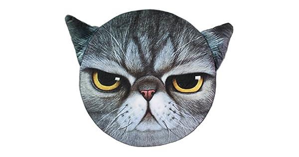 Amazon.com: 3d Gray Cat Angry Face Espuma de memoria cojín ...