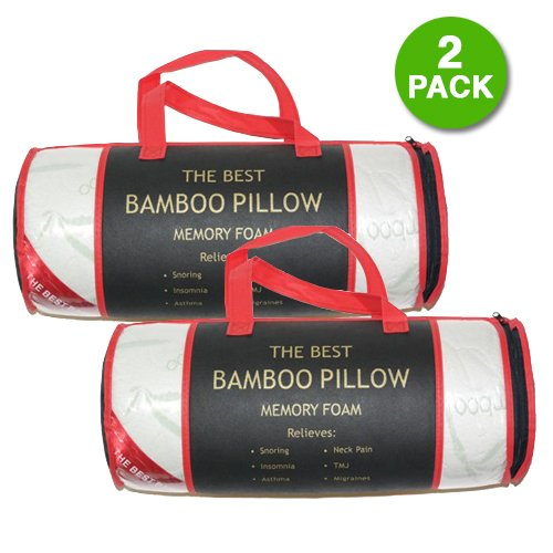 2 Pack: The Original Best Bamboo Memory Foam Hypoallergenic Pillow (King)