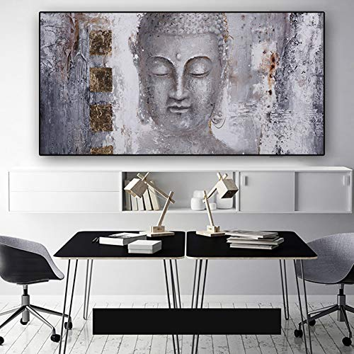 YJFFBH Lord Buddha Gold Abstract Oil Painting On Canvas Religious Posters and Prints Scandinavian Wall Pop Art Pictures for Living Room