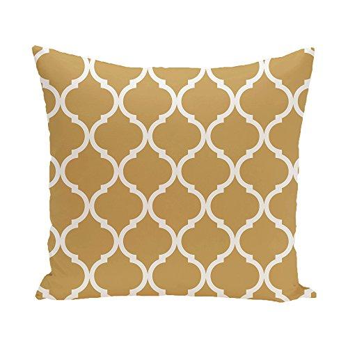E by design French Quarter Geometric Print Pillow, 16-Inch Length, Dijon