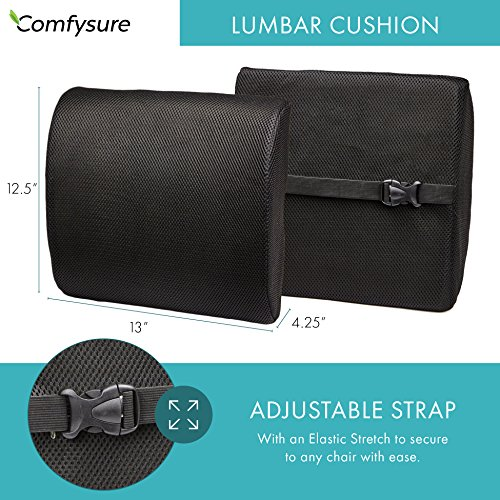 ComfySure Lumbar Support Seat Back Cushion – Memory Foam with Removable Mesh Cover - Lower Back Pain Relief, Helps Posture - Fits Most Office, Desk, Computer Chairs and Car Seats by ComfySure (Image #3)