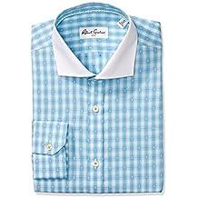 Robert Graham mens Regular Fit Two Tone Geo Plaid Spread Collar Dress Shirt