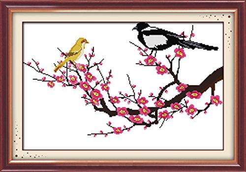 LovetheFamily クロスステッチキット DIY 手作り刺繍キット 正確な図柄印刷クロスステッチ 家庭刺繍装飾品 11CT ( インチ当たり11個の小さな格子)中程度の格子 刺しゅうキット フレームがない - 61×42 cm 梅の花
