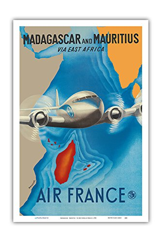 (Pacifica Island Art Madagascar - Mauritius - via East Africa - France - Vintage Airline Travel Poster by Renluc c.1950 - Master Art Print - 12in x 18in)