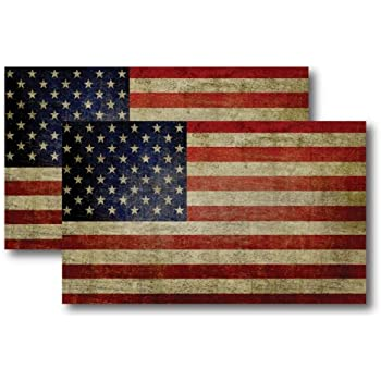 American Flag Magnets 2 Pack 3x5 inch Patriotic Decals for Car Truck or Fridge