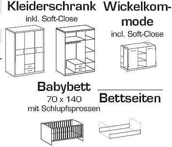 Gina 6 tlg Babyzimmer Wickelkommode Babybett Weiss Brombeer