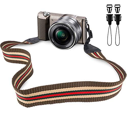 Wolven Camera Neck Shoulder Belt Strap Compatible for DSLR/SLR Etc, Brown Orange Stripe