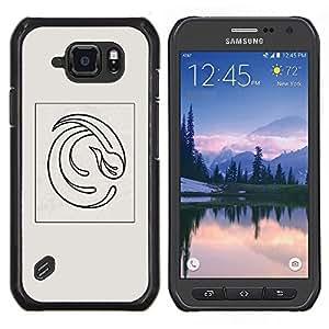 EJOOY---Cubierta de la caja de protección para la piel dura ** Samsung Galaxy S6Active Active G890A ** --Resumen Pluma Gris Poster Vórtice