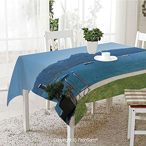 AmaUncle 3D Print Table Cloths Cover Architecture Outdoor Terrace by The Lake with Green Garden Sail Boats Leisure Kitchen Rectangular Table Cover (W60 xL104) ()