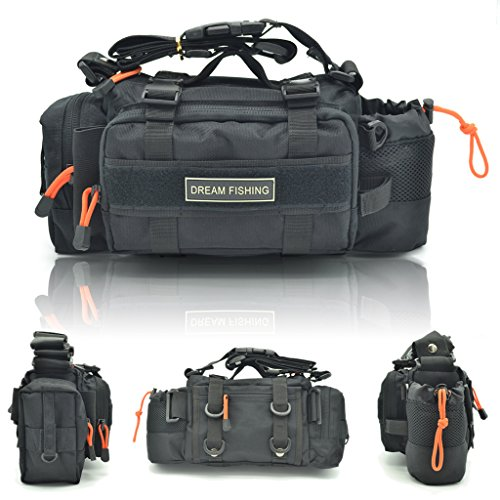 BLISSWILL Portable Outdoor Fishing Tackle Bags Waist Fishing Bag Fishing Gear Storage Bag Water-Resistant Multifunctional Bag Fly Fishing Bag Durable Handbag Bags For Fishing(Black)