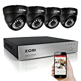 ZOSI 4Channel 720P HD DVR CCTV Home Security System With 4x Indoor/Outdoor Color Dome Metal Cameras NO Include Hard Disk (65ft(20m) IR night vision,3.6mm lens, Smartphone& PC Easy Remote Access)