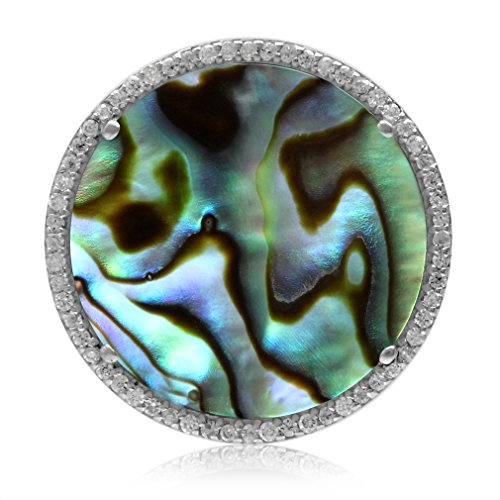 20MM Round Disc Shape Abalone/Paua Shell White Gold Plated 925 Sterling Silver (Paua Shell Round Pendant)