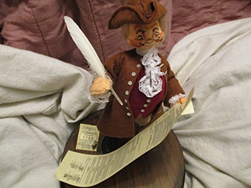 Ben Franklin Annalee Doll with the Bill of Rights in Wood bass With Glass - Bill Bass Glasses