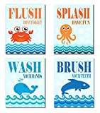 The Kids Room By Stupell Sea Creatures Bathroom Rules 4-Pc. Rectangle Wall Plaque Set, Proudly Made in USA
