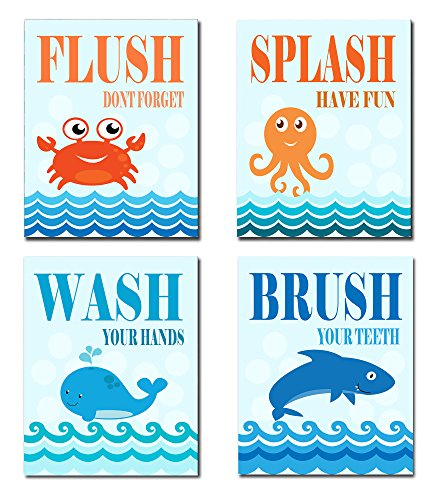 The Kids Room By Stupell Sea Creatures Bathroom Rules 4-Pc. Rectangle Wall Plaque Set, Proudly Made in USA by The Kids Room by Stupell
