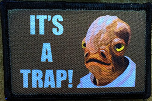 Star Wars Admiral Ackbar Its A Trap! Morale Patch. Perfect for your Tactical Military Army Gear, Backpack, Operator Baseball Cap, Plate Carrier or Vest. 2x3 Patch. Made in the USA