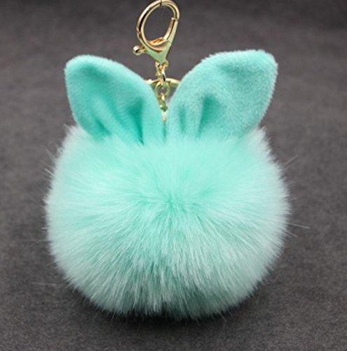 1 Pc Mini Pocket Rabbit Ear Fur Ball Keychain Keyring Keyfob Fluffy Pompom Keys Chains Rings Tags Strap Wrist Ideal Popular Cute Wristlet Utility Keyrings Tool Teen Women Girls Gift, Type-01
