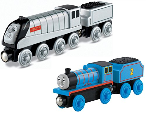 Fisher-Price Thomas the Train Wooden Railway Spencer AND Edward - Edward 2 Light