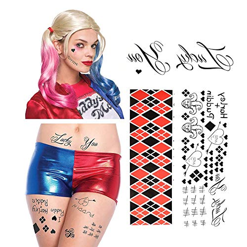 Garma HQ Temporary Tattoos 4 Sheets - Face, Waist, Leg Tats for Halloween Cos Play Costume(Suicide Squad Tattoo Sticker 4 Sheets) -