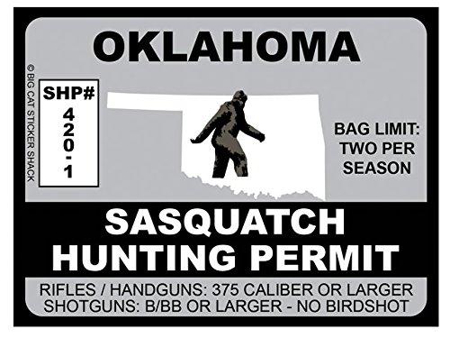Sasquatch Hunting Permit - Oklahoma (Bumper Sticker)