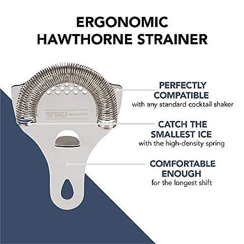 Cocktail Strainer Set: Stainless Steel Hawthorne Strainer, Julep Strainer and Conical Fine-Mesh Strainer