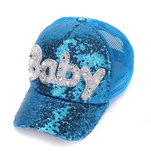 New Real Mesh Cap for Children Gift Baseball Caps Baby Diamond Sequin Sun Hats Adjustable Summer Kids and Hat Blue -