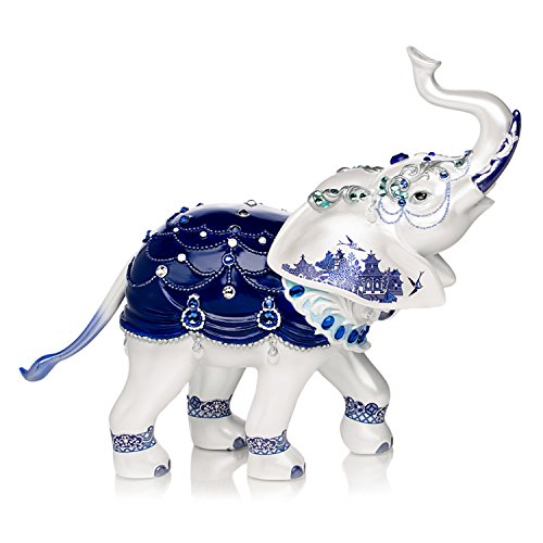 - Sparkling Blue Willow Hand-Painted Elephant Figurine Adorned With Swarovski Crystals by The Hamilton Collection