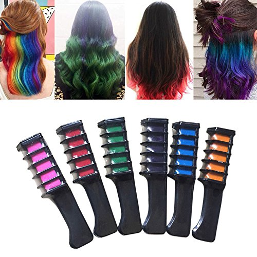Temporary Bright Hair Chalk Set - Kalolary Metallic Glitter for All Hair Colors- Built in Sealant,For Kids Hair Dyeing Party and Cosplay DIY, 6 Colors by Kalolary (Image #5)
