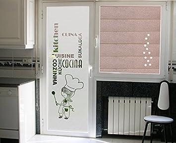 vinilo para cristales cocinera con palabras cocina en diferntes idiomas para puerta o ventana