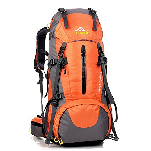 Loowoko Hiking Backpack 50L Travel Daypack Waterproof with Rain Cover for Climbing Camping Mountaineering by (Orange) (55l Backpack)