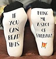 If You Can Read This Bring Me a shot of Fireball Whiskey Novelty Funky Crew Socks Men Women Christmas Gifts Slipper Socks