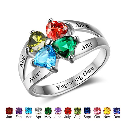 Personalized Mother's day Rings Family Jewelry Engrave Names Simulated Birthstone Rings For Women (Mothers Name Birthstone Rings)