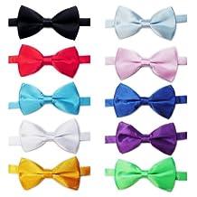 TOPTIE Mens Tuxedo Bow Tie Adjustable Neck Bowtie 10pc Mixed Lot Solid Color-set2