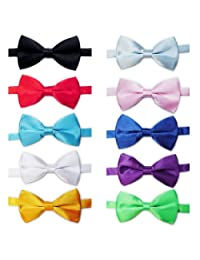 TOPTIE Mens Tuxedo Bow Tie Adjustable Neck Bowtie 10pc Mixed Lot Solid Color-set2