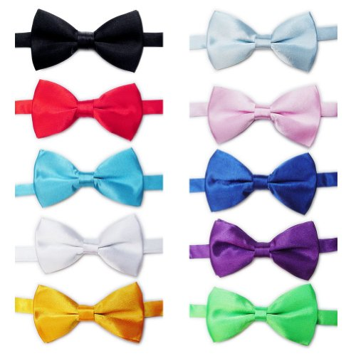 TOPTIE Mens Tuxedo Bow Tie Solid Color Bowtie 10pc Mixed Lot SET2