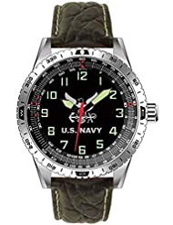 US Navy Military Performance Wrist Watch With Padded Genuine Leather Strap