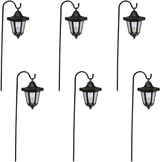 Juego de dos faroles para colgar, luces solares para jardines, caminos, parterres, bordes, etc.; poste de metal: Amazon.es: Jardín