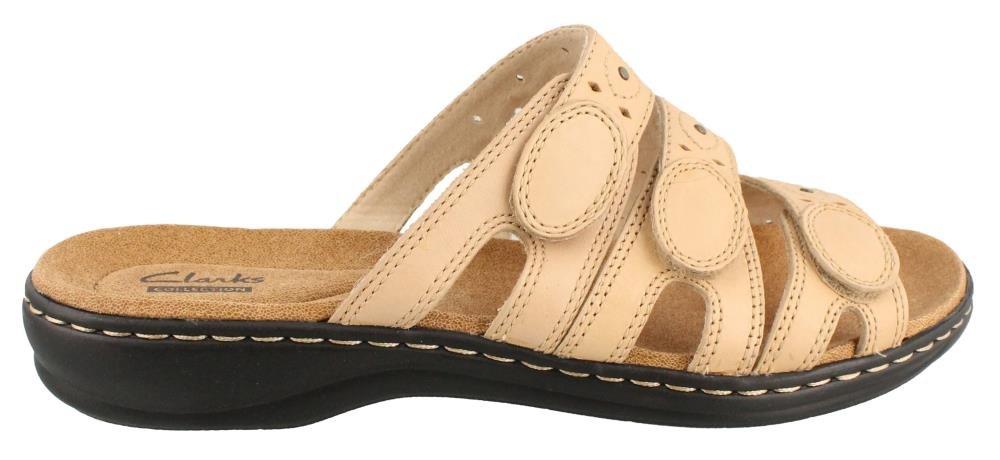 CLARKS Women's Leisa Cacti Slide Sandal, Nude Leather, 9 W US