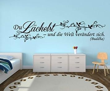 Wandtattoo Spruch Lächeln Welt Glück Wandsticker Sprüche ...