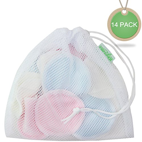Wegreeco Bamboo Makeup Remover Pads 14 Pack with Laundry Bag - Chemical free, Reusable Soft Facial and Skin Care Wash Cloth Pads - Wipes Face Clean (Bamboo Velour, 3 Color) by wegreeco (Image #3)