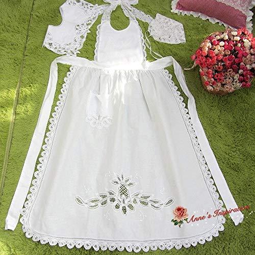 - FidgetGear Set~Victorian Battenburg Lace Full Apron+Collar+Bonnet~White~Maid Costume/Party~