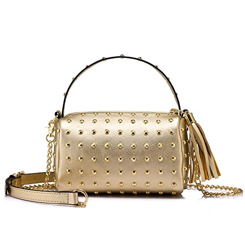 - Shoulder Bag Small Side Purse Mini Clutch with Bling Rivets Gold