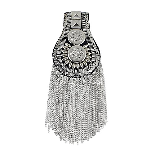 FEEL ON TOP 1 PC Exaggerate Antique Style Silver Black Color Alloy European Trendy Tassels Chain Brooch Shoulder Board with Free Jewelry Pouch(silver) ()